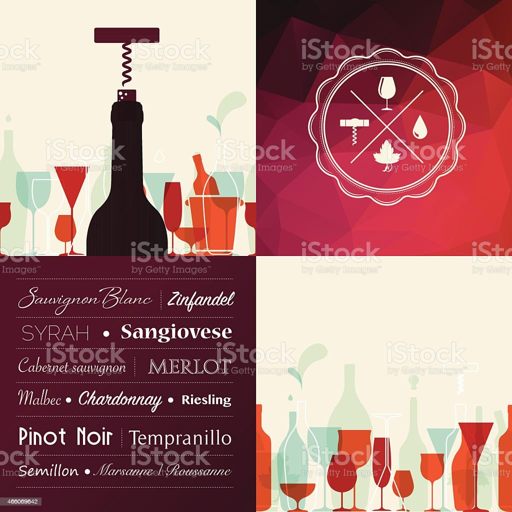 Wine types background with icons vector art illustration