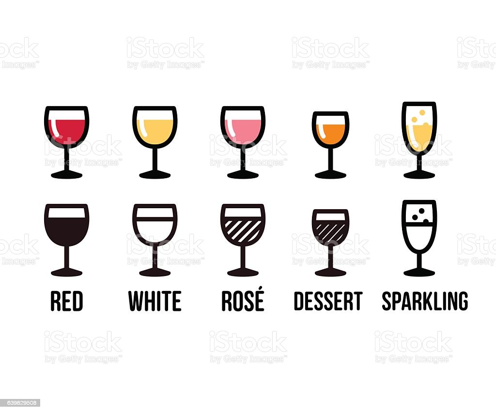 Wine types icon set vector art illustration