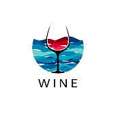 Sea and wine design template. Vector illustration