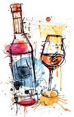 Image shows a Wine bottle and a wine glass in watercolor style; vectorimage with only one layer, without opening shapes and gradients; big jpeg (350DPI); digital drawing with free wild style; fantasy drawing; skinny lines; better for white backgrounds