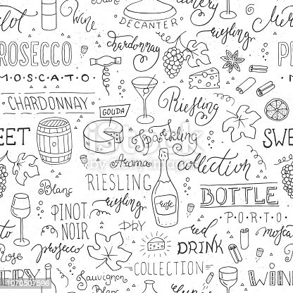 istock Wine vector seamless pattern with hand-drawn elements 1070507596