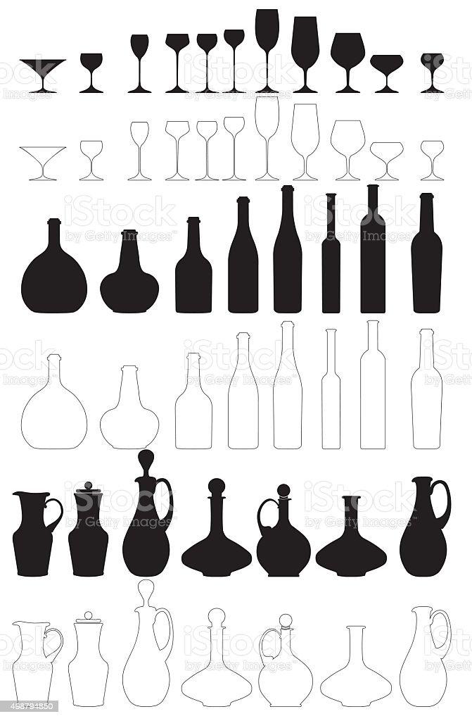 wine vessels vector art illustration