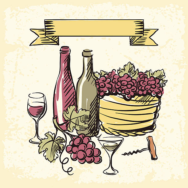 Best Red Wine Bottle Wineglass Grapes Vineyard Drawing ...
