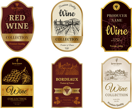 Wine vintage labels. Alcohol wine champagne drinks badges luxury style with pictures of vineyard silhouettes and grapes vector pictures