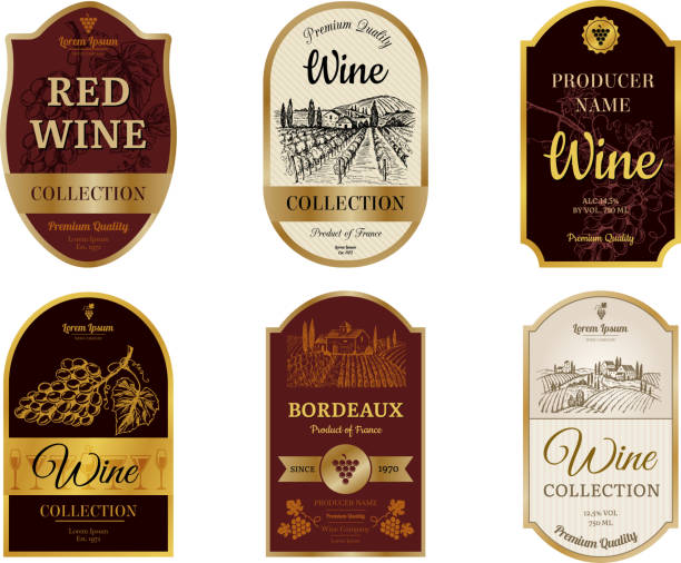 Wine vintage labels. Alcohol wine champagne drinks badges luxury style with pictures of vineyard silhouettes and grapes vector pictures Wine vintage labels. Alcohol wine champagne drinks badges luxury style with pictures of vineyard silhouettes and grapes vector pictures. Illustration of alcohol drink wine, vineyard label for beverage alcohol drink designs stock illustrations