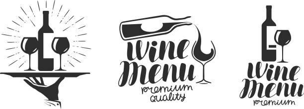 ワイン ・ ワイナリーのアイコンまたはアイコン, エンブレム。メニュー デザイン レストランやカフェのラベルです。文字ベクトル図 - バーテンダー点のイラスト素材/クリップアート素材/マンガ素材/アイコン素材