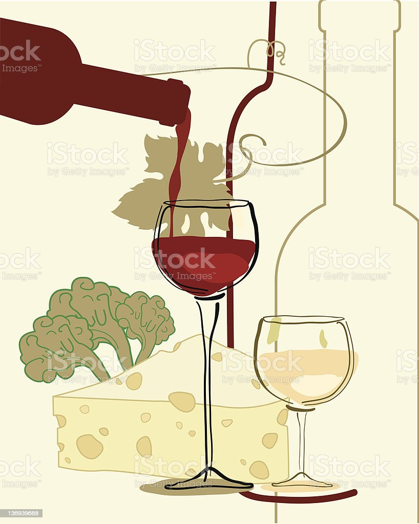 Wine with cheese royalty-free stock vector art