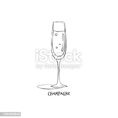 istock Wineglass champagne. Drink element. Black white. Retro glass champagne hand draw, design for any purposes. Restaurant illustration. Simple sketch. Isolated on white background in engraving style 1264500845