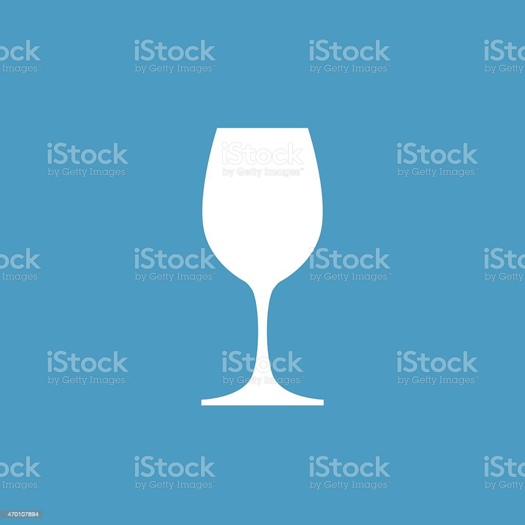 wineglass icon, white on the blue background vector art illustration