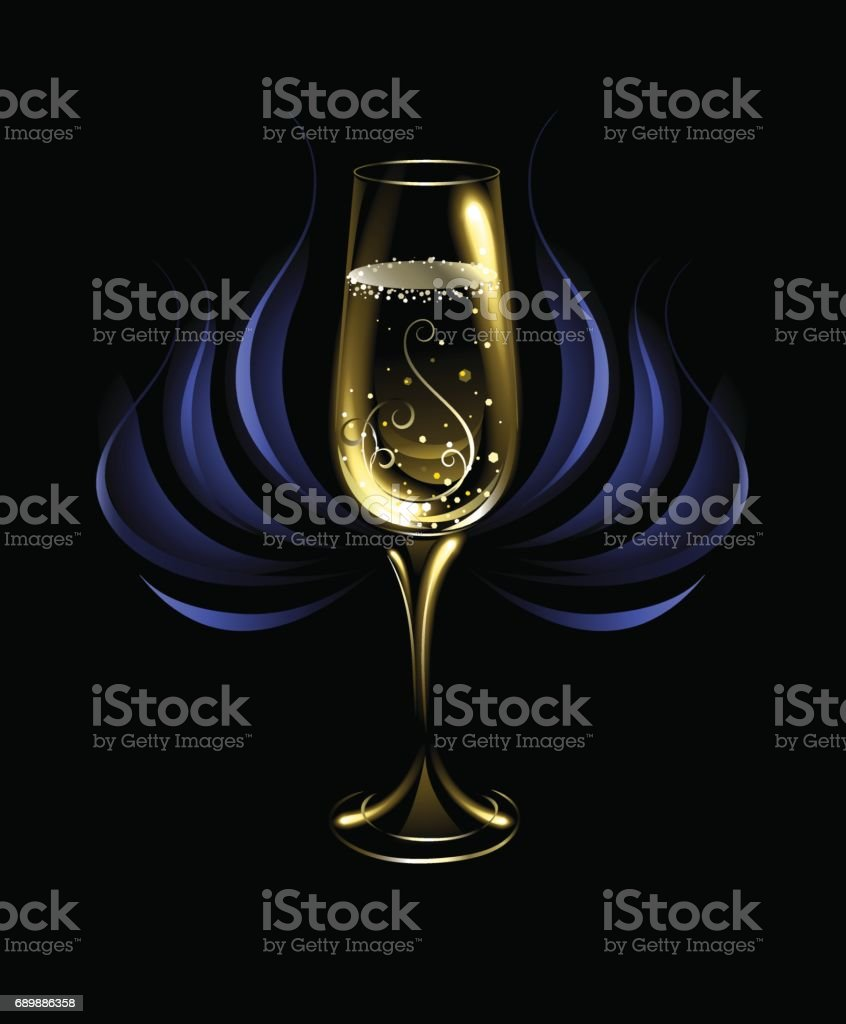 wineglass of champagne vector art illustration