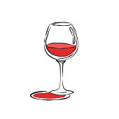 istock Wineglass red wine. Drink element. Color object. Retro glass wine hand draw, design for any purposes. Restaurant illustration. Simple sketch. Isolated on white background in engraving style 1291364531