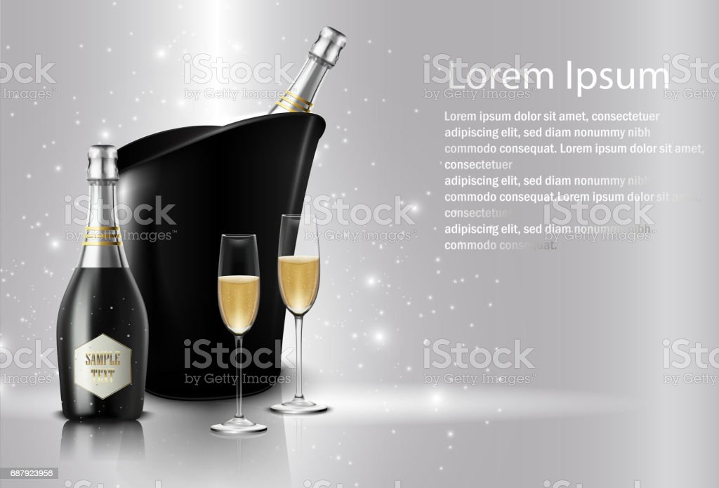 Wineglass with black wine bottles of champagne in a bucket vector art illustration