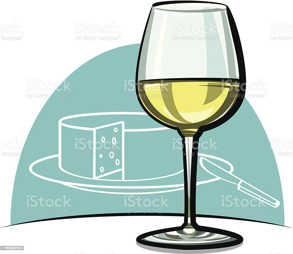 Wineglass with white wine vector art illustration