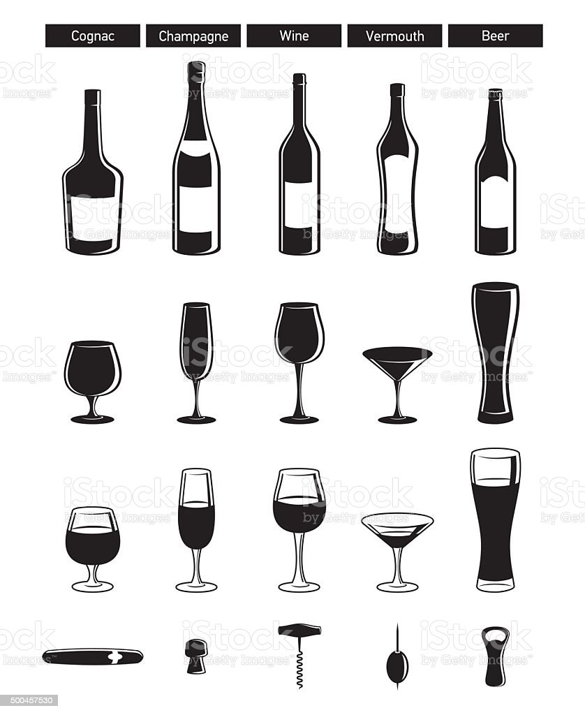 wineglasses vector art illustration