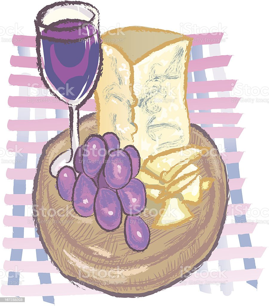 wine,grapes and cheese royalty-free stock vector art