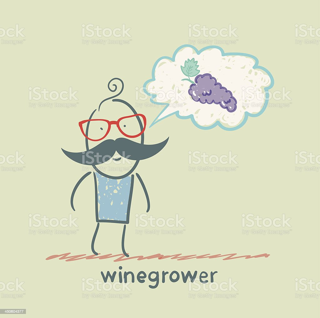 winegrower thinks of grapes royalty-free stock vector art