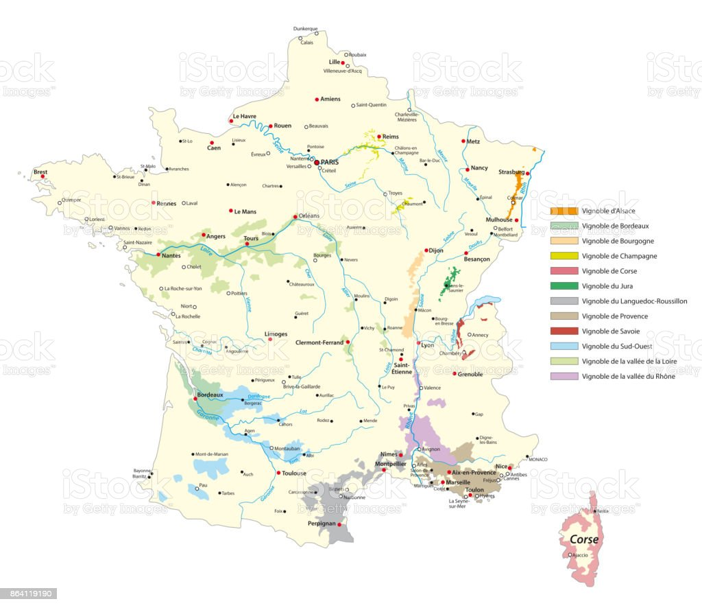 wine-growing areas map in France royalty-free winegrowing areas map in france stock vector art & more images of bordeaux