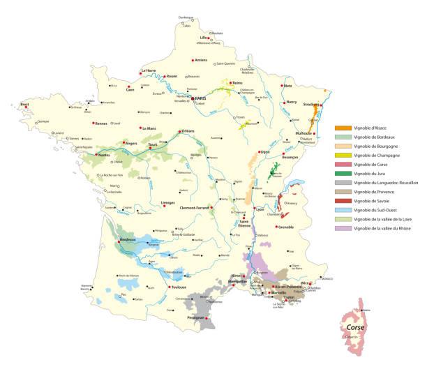 weinbau-gebiete karte in frankreich - weinkarte stock-grafiken, -clipart, -cartoons und -symbole