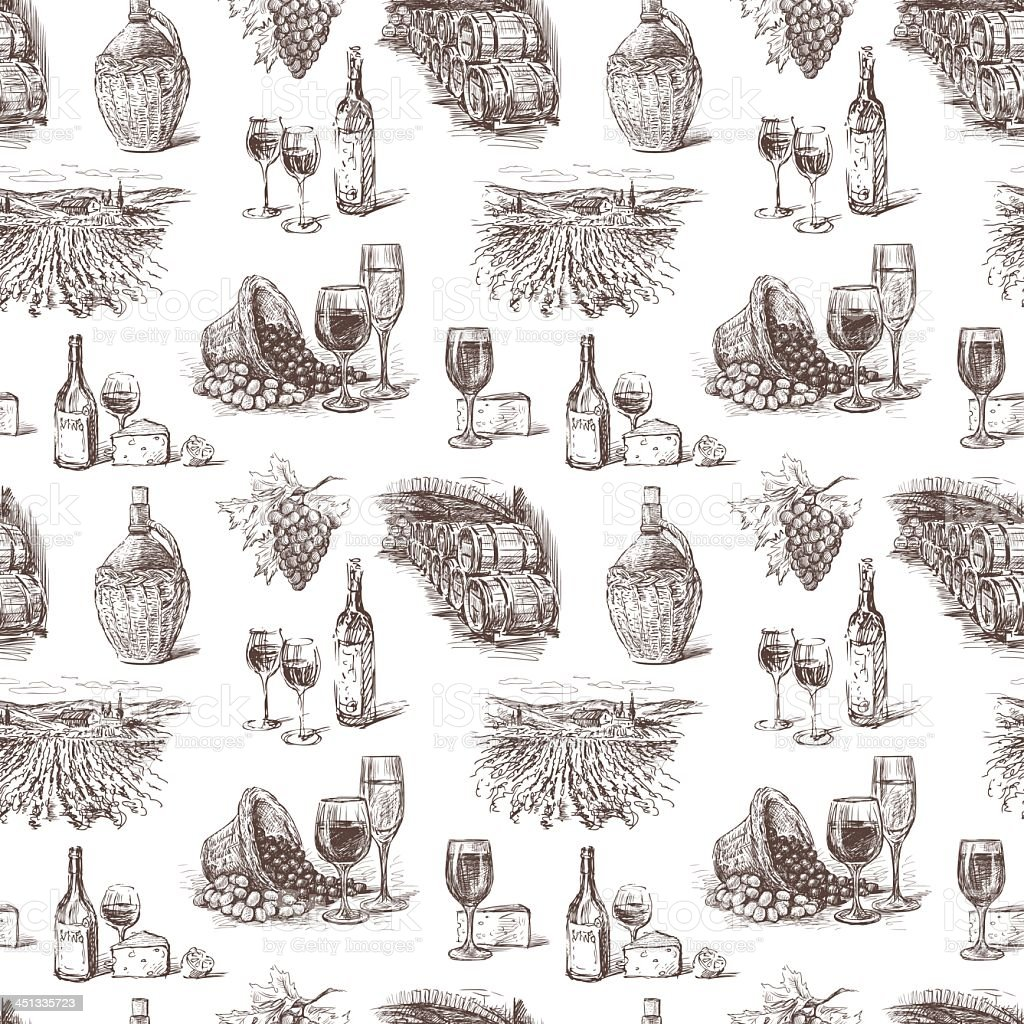 Winemaking illustrations on white