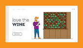 Winemaking Industry Wine Degustation Landing Page Template. Winemaker or Taster Character Stand at Wooden Shelf with Wine Bottles Choose Drink and Read Label on Glass Flask. Linear Vector Illustration