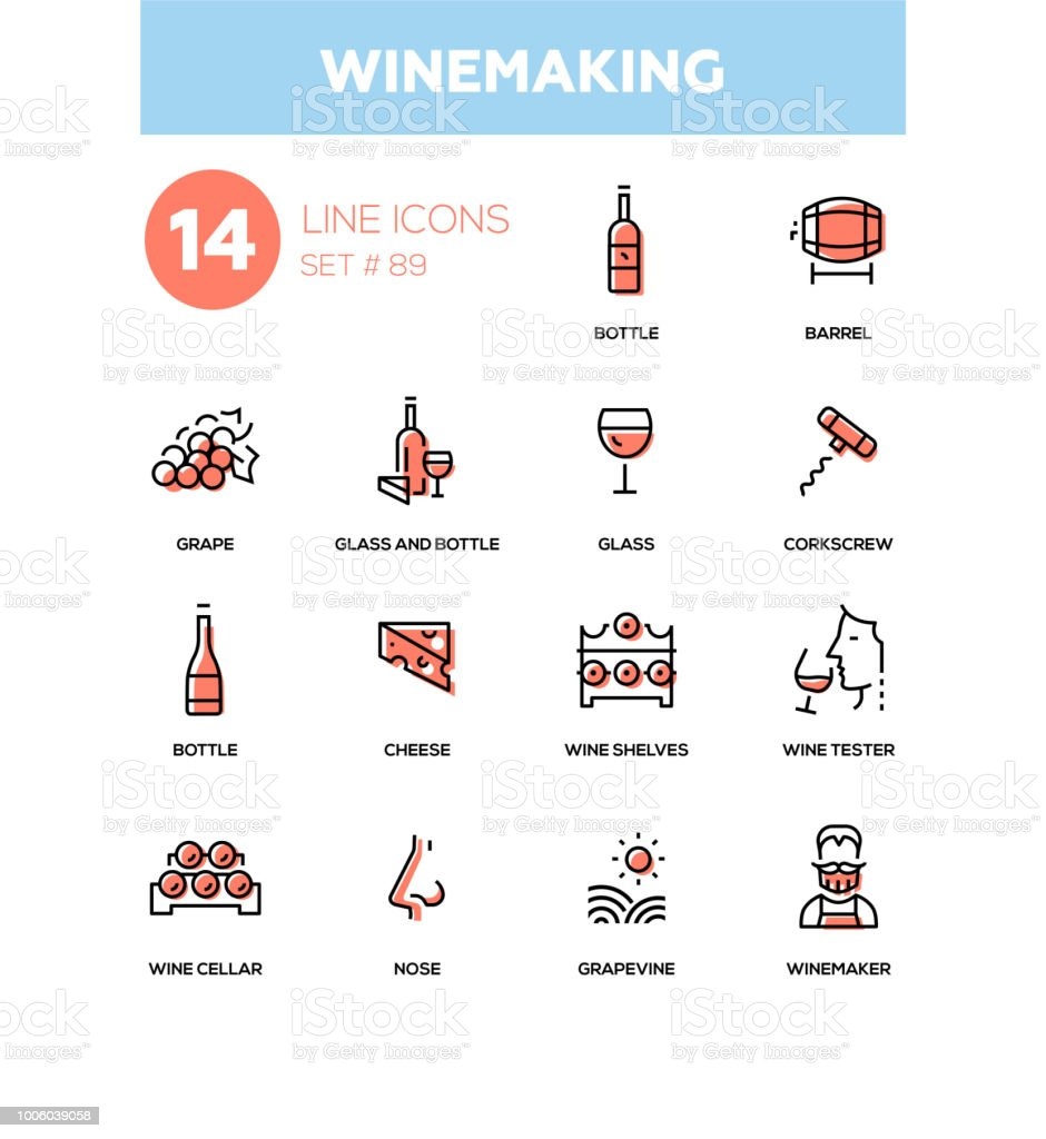 Winemaking - modern line design icons set