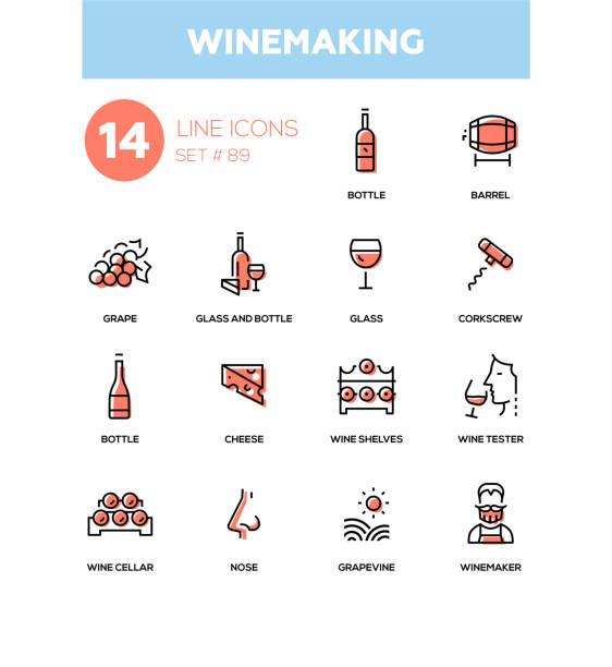 stockillustraties, clipart, cartoons en iconen met wijnbereiding - pictogrammen in de moderne lijn instellen - tasting
