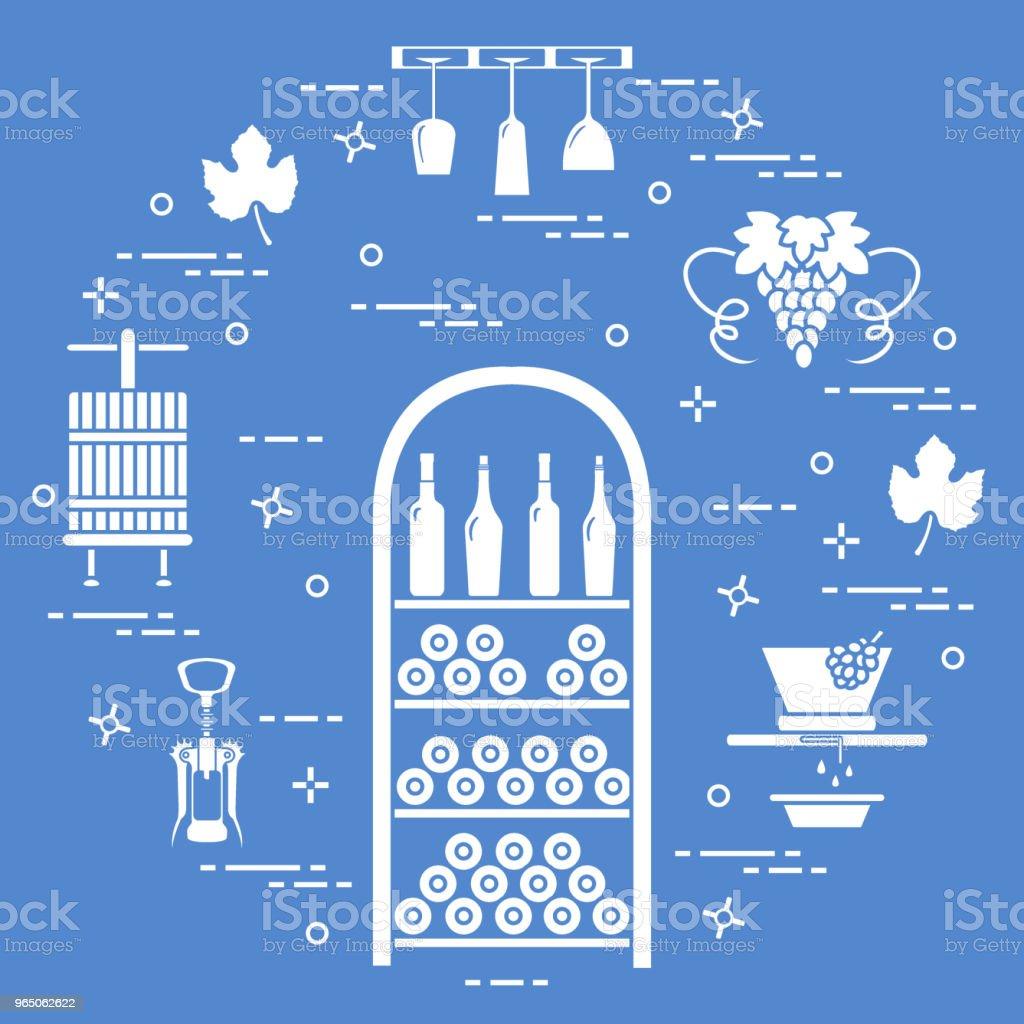 Winemaking: the production and storage of wine. Culture of drinking wine. winemaking the production and storage of wine culture of drinking wine - stockowe grafiki wektorowe i więcej obrazów alkohol royalty-free