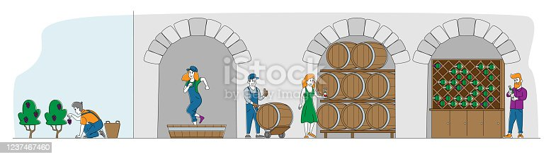istock Winemaking, Wine Producing and Drinking Concept. Man with Bottle, Woman Drink Wine. Female Characters Grow, Stomping Organic Grapes, Produce Natural Vine Production. Linear People Vector Illustration 1237467460