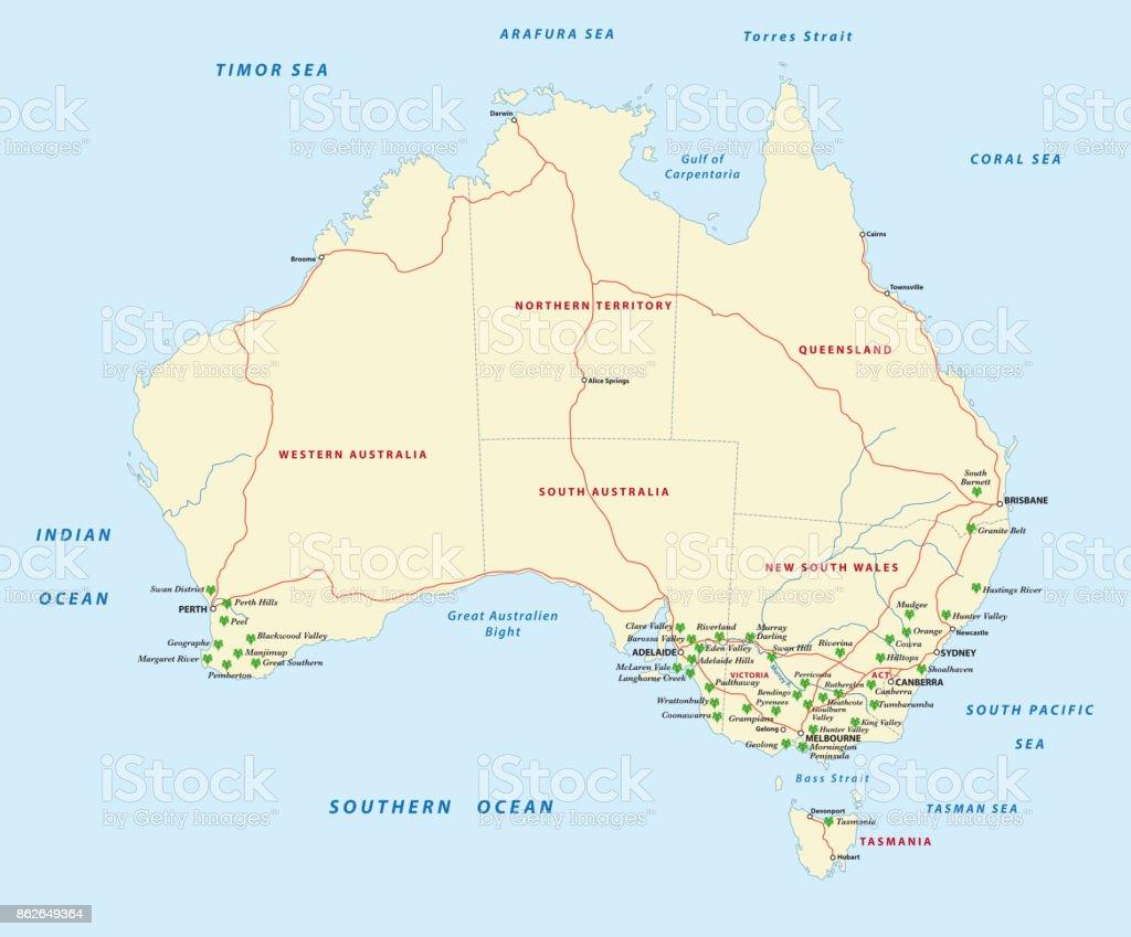 Karta Australien Adelaide.Vinproducerande Regionerna I Australien Karta Vektorgrafik Och Fler