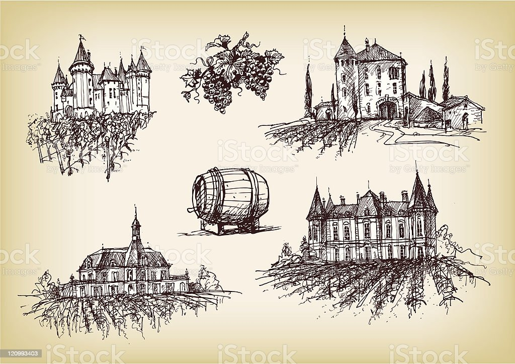 Winery castels with vineyards on sepia vector art illustration