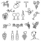 Winery Grapes Thin Line Art Icon Set