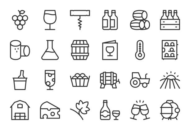 stockillustraties, clipart, cartoons en iconen met producent icons - lichtlijn serie - kurk