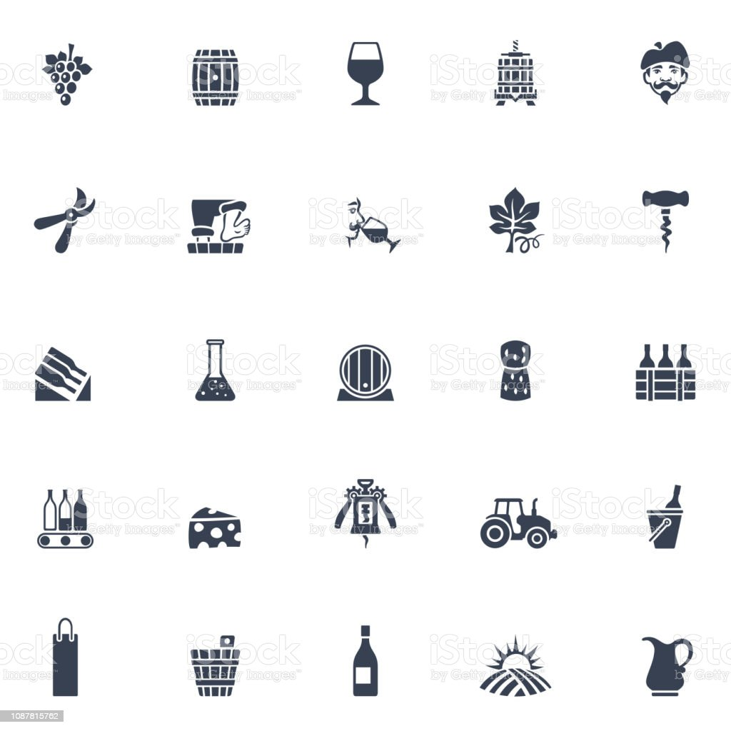 Winery Icons vector art illustration