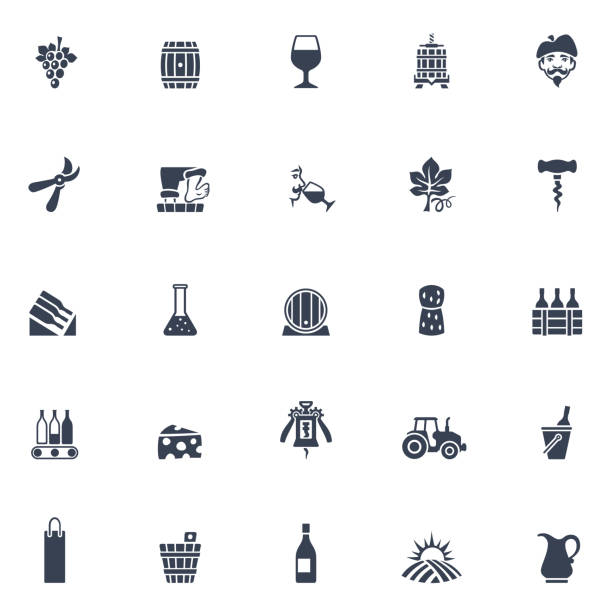 bildbanksillustrationer, clip art samt tecknat material och ikoner med vingården ikoner - vineyard