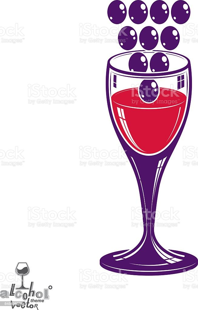 Winery theme vector illustration. Stylized wineglass with grapes...
