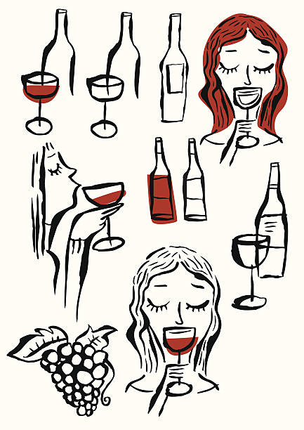 Vinos, gafas, mujer de degustación de vino, UVA y ramo de uvas. - ilustración de arte vectorial