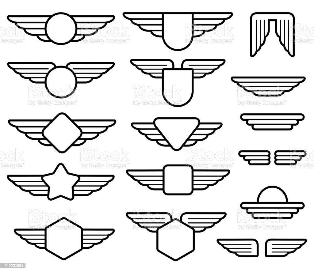 wing army emblems aviation badges pilot labels line vector