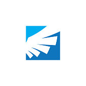 Wing blue square logo vector design template concept for business, freedom, flying, success, bird wings