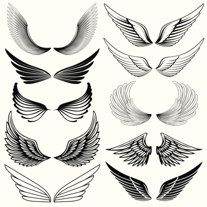 Set of stylized wings.Hi res jpeg included.More works like this linked below.