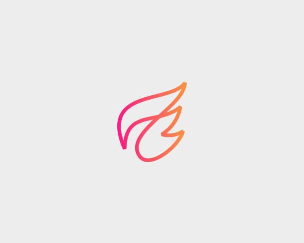 illustrations, cliparts, dessins animés et icônes de logo de vecteur de vol d'aile. logotype d'expédition linéaire de livraison. - aile d'animal