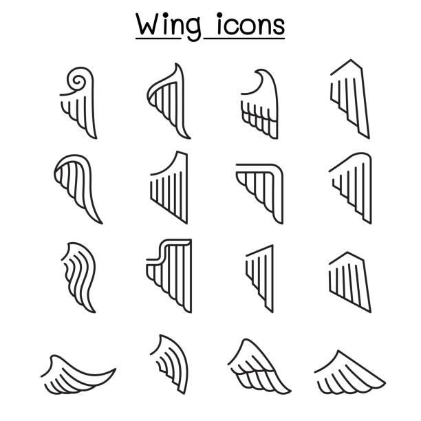 flügel-symbol legen sie in dünne linienstil - schutzengel stock-grafiken, -clipart, -cartoons und -symbole