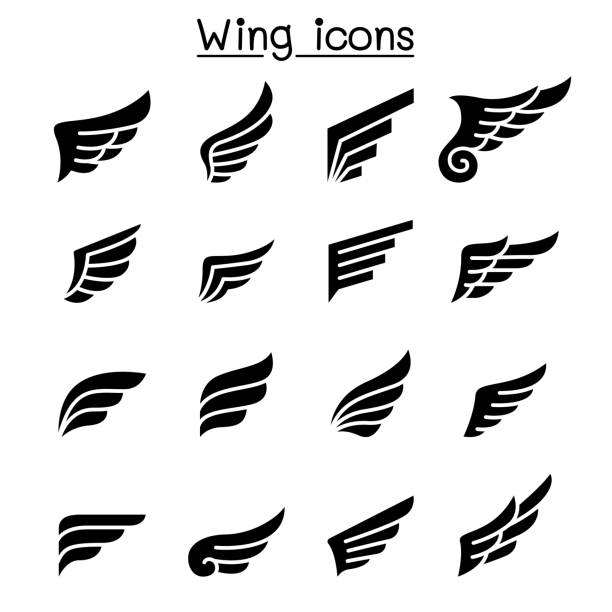 wing icon set - animal wing stock illustrations