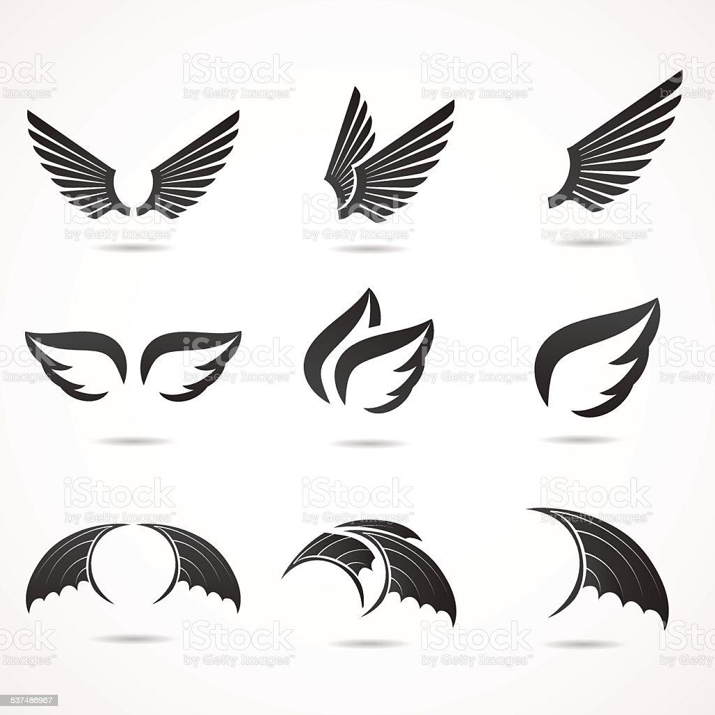 Ala icono de conjunto. - ilustración de arte vectorial