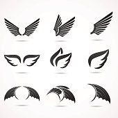 Wing icon set.