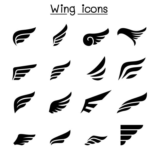 wing icon set - eagle character stock illustrations, clip art, cartoons, & icons