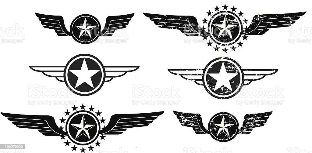 Wing Icons - Flying or Air Force vector art illustration