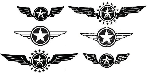 Wing Icons - Flying or Air Force Graphic black and white Wing Icons - Flying or Air Force. Use with or without the grunge. Check out my