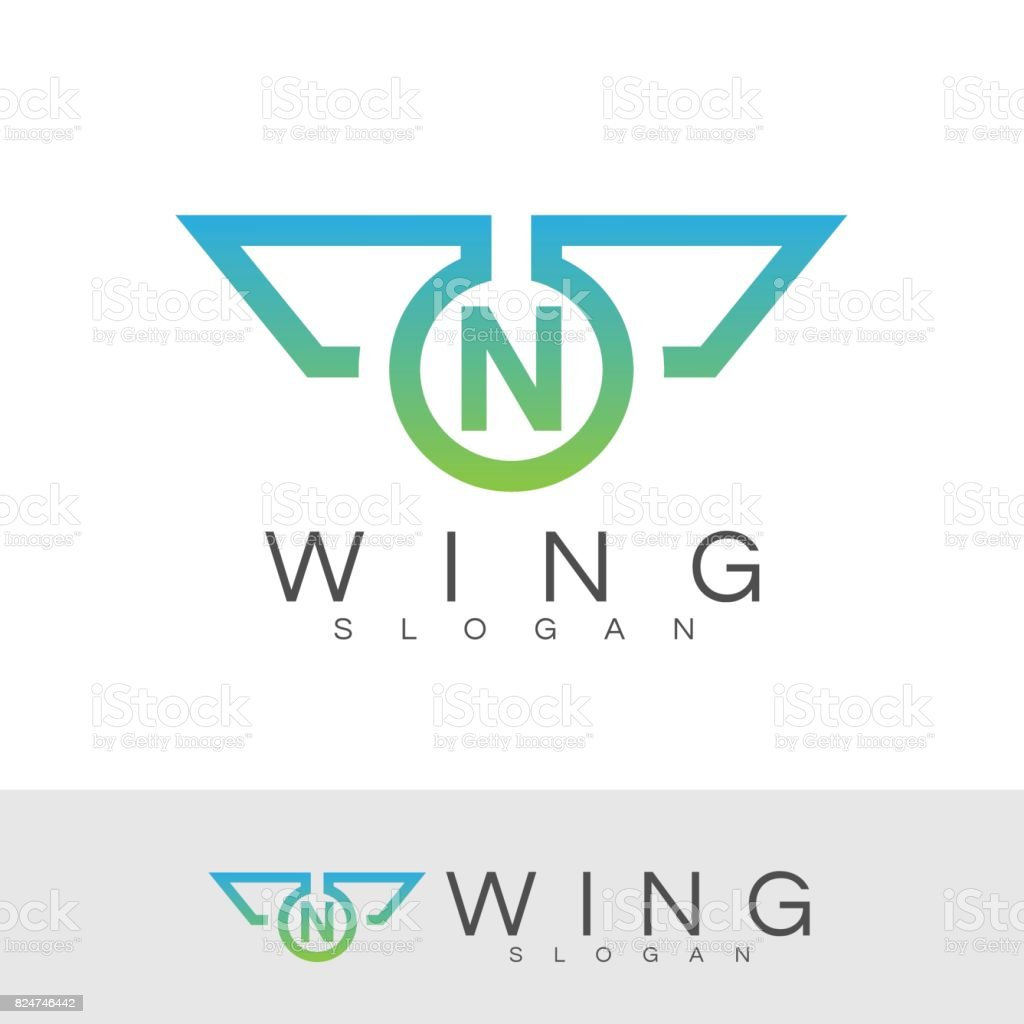 Wing Initial Letter N Icon Design Stock Illustration - Download