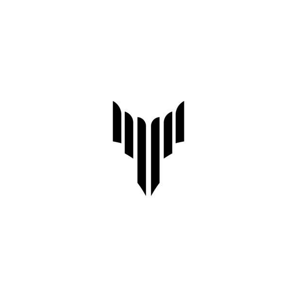 logo der flügel. anfangsbuchstaben v logokonzept. abstrakte silhouette-logo. - schutzengel stock-grafiken, -clipart, -cartoons und -symbole