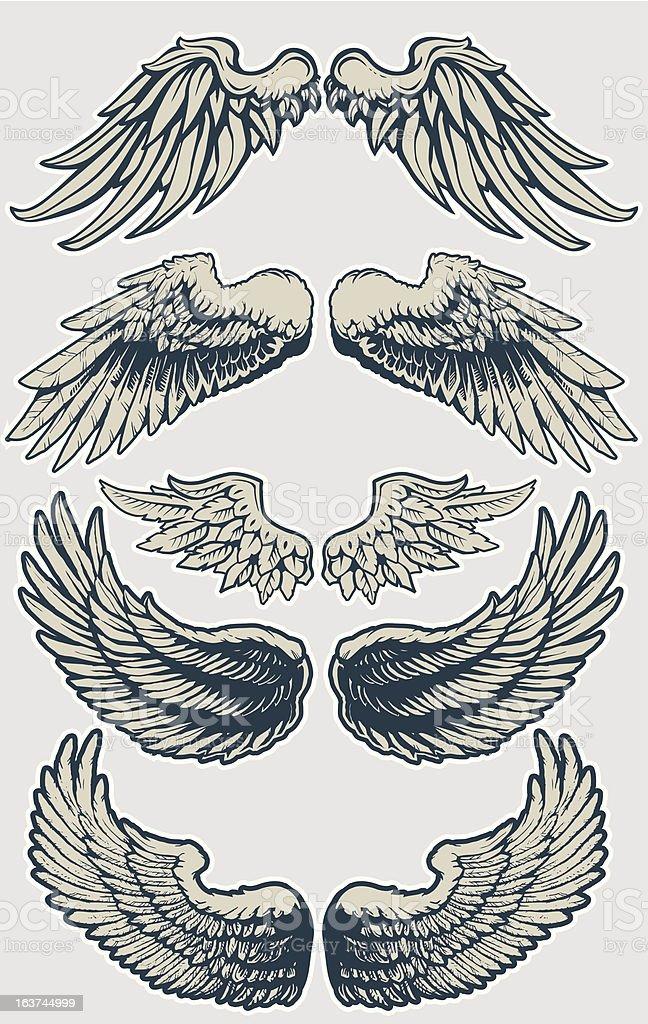 Wing Set vector art illustration